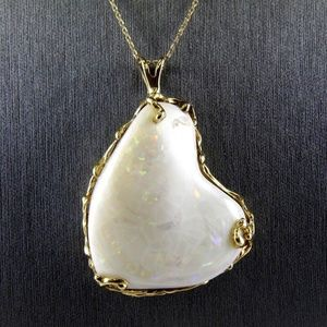 Jewelry - Fire Opal & Diamond Halo Pendant 14k YG 50.00Ct